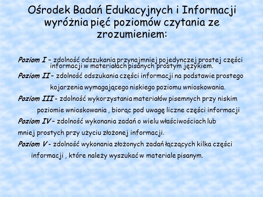Ośrodek Badań Edukacyjnych i Informacji wyróżnia pięć poziomów czytania ze zrozumieniem: Poziom I – zdolność odszukania przynajmniej pojedynczej prost