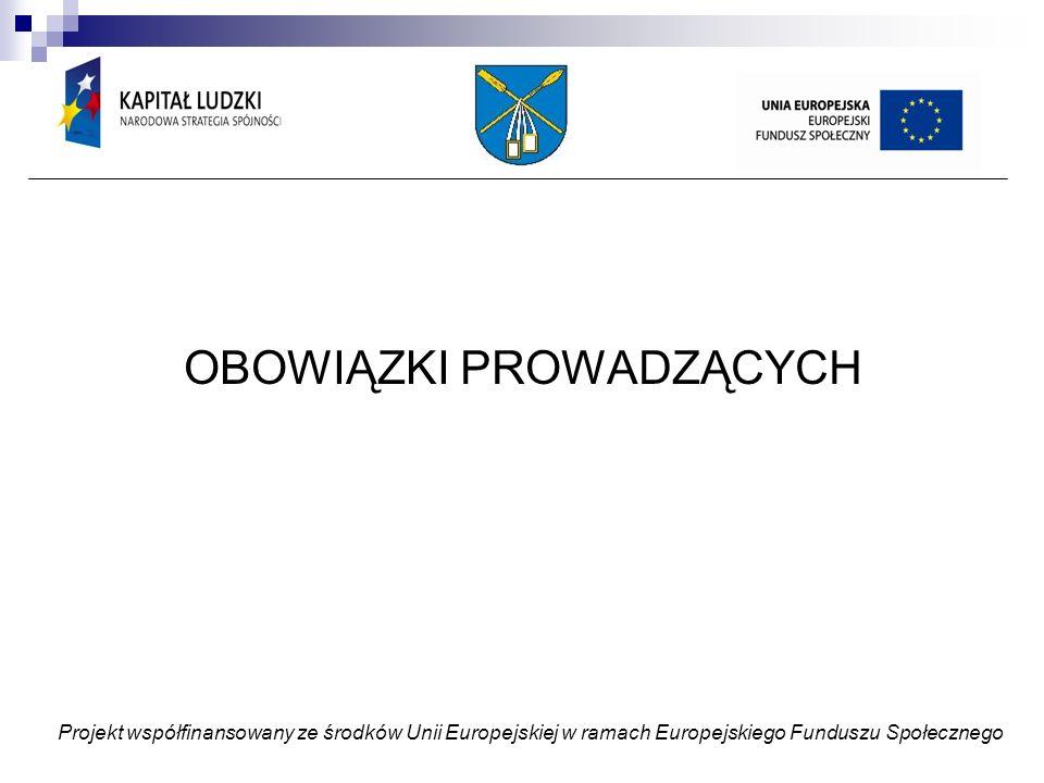 OBOWIĄZKI PROWADZĄCYCH Projekt współfinansowany ze środków Unii Europejskiej w ramach Europejskiego Funduszu Społecznego