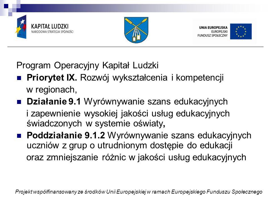 Projekt współfinansowany ze środków Unii Europejskiej w ramach Europejskiego Funduszu Społecznego REZULTAT- MONITOROWANIE- WERYFIKACJA