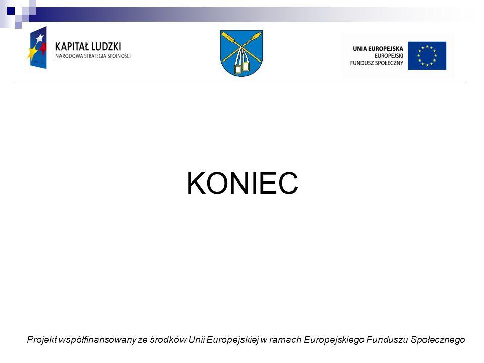 KONIEC Projekt współfinansowany ze środków Unii Europejskiej w ramach Europejskiego Funduszu Społecznego