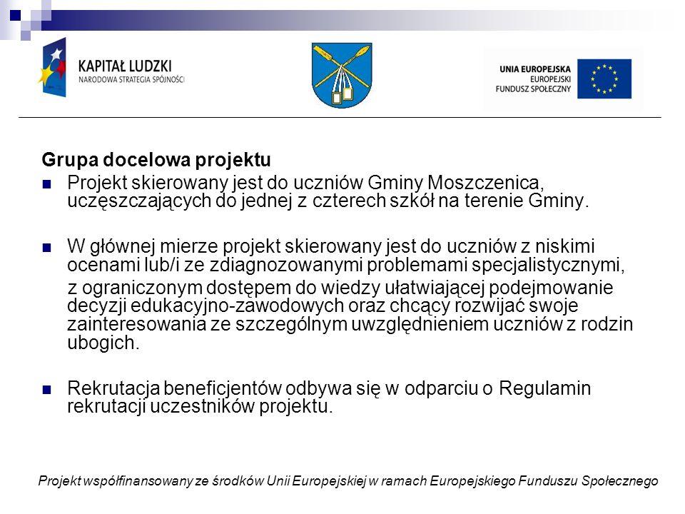 Grupa docelowa projektu Projekt skierowany jest do uczniów Gminy Moszczenica, uczęszczających do jednej z czterech szkół na terenie Gminy.
