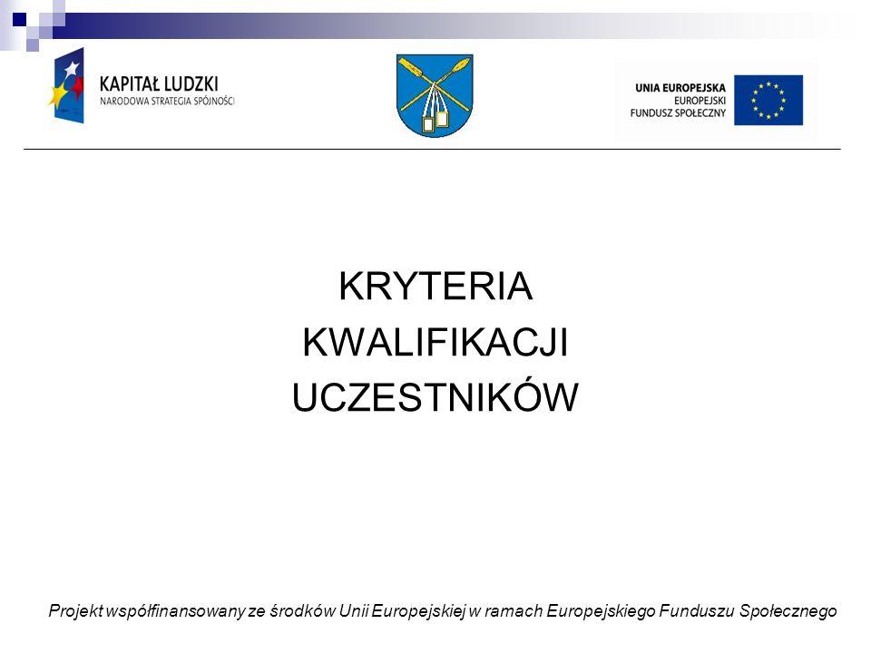 Kryteria podstawowe: * miejsce zamieszkania – Gmina Moszczenica, potwierdzone oświadczeniem rodzica lub prawnego opiekuna; * nauka w jednej ze szkół na terenie Gminy Moszczenica, potwierdzona kserokopią legitymacji szkolnej, poświadczona za zgodność z oryginałem; * wypełnienie formularza i zgoda rodzica lub prawnego opiekuna na uczestnictwo w projekcie; * zaświadczenie z GOPS lub oświadczenie rodzica/opiekuna prawnego o wysokości średniomiesięcznego dochodu na 1 członka rodziny (ostatnie 12 miesięcy) Kryteria dodatkowe Wsparcie dydaktyczno-wyrównawcze i specjalistyczne 1) trudności w nauce i/lub problemy specjalistyczne, poświadczone rekomendacją wychowawcy lub orzeczeniem Poradni Pedagogiczno-Psychologiczne Zajęcia pozaszkolne i pozalekcyjne 1) zainteresowanie uczestnictwem, potwierdzone przez ucznia w formie pisemnej w formularzu oraz rekomendacją wychowawcy po konsultacjach nauczycielami przedmiotów Wsparcie uczniów w zakresie podejmowania decyzji edukacyjno-zawodowych 1) zainteresowanie uczestnictwem potwierdzone przez ucznia w formie pisemnej w formularzu Projekt współfinansowany ze środków Unii Europejskiej w ramach Europejskiego Funduszu Społecznego