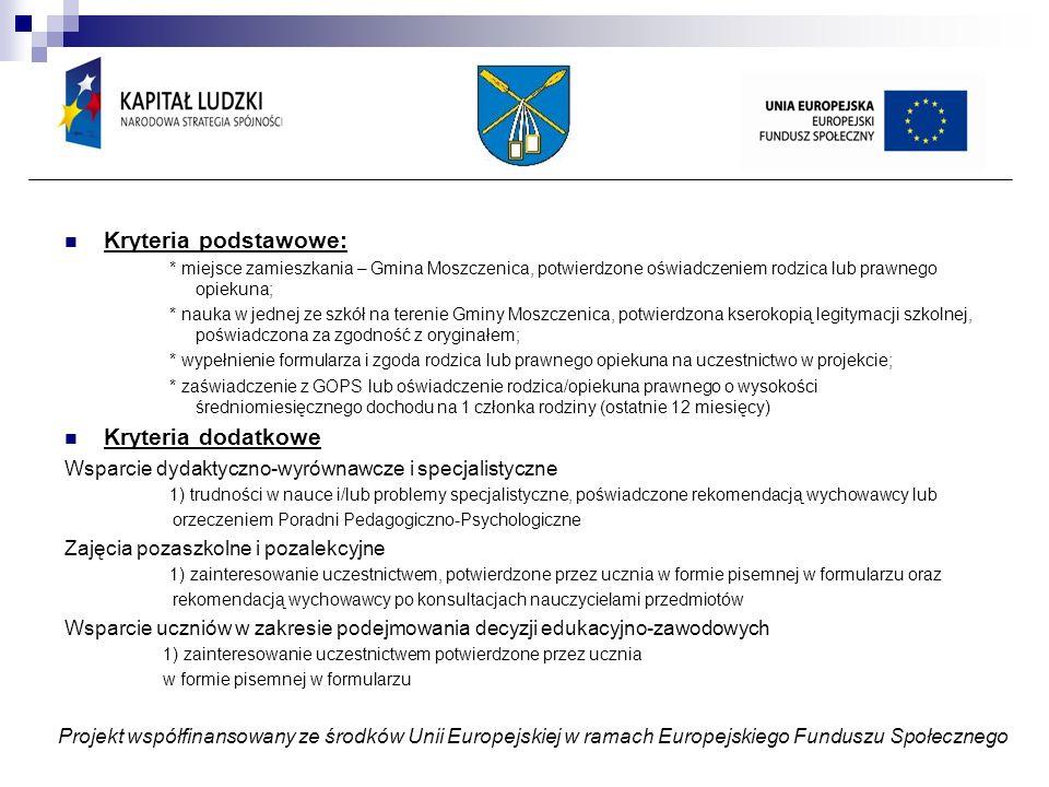 Obowiązki prowadzącego: ZADANIE 3,4,5 Podejmowanie działań w związku z rekrutacją, współpraca z Komisją Rekrutacyjną i wychowawcą Opracowanie programu zajęć w zależności od zdiagnozowanych potrzeb i zamieszczenie go w dzienniku zajęć Opracowanie testów wiedzy (jeżeli jest to wymagane) Prowadzenie na bieżąco dziennika zajęć i przedkładanie go do comiesięcznego sprawdzenia Koordynatorowi Szkolnemu Monitoring frekwencji Stosowanie oceniania kształtującego w ocenie osiągnięć ucznia i odnotowanie tego faktu w dzienniku Odpowiadanie za prawidłowy przebieg zajęć Dbanie o przekazanie poczęstunku na zajęciach Dbanie o osiągnięcie zaplanowanych rezultatów – poprawę wyników nauczania – porównanie wyników nauczania ucznia przed przystąpieniem do projektu i po jego zakończeniu-odnotowanie tego faktu w dzienniku zajęć Wytypowanie uczniów do nagrody za najwyższy postęp Wykorzystanie zakupionego sprzętu i odnotowanie tego faktu w dzienniku zajęć Projekt współfinansowany ze środków Unii Europejskiej w ramach Europejskiego Funduszu Społecznego
