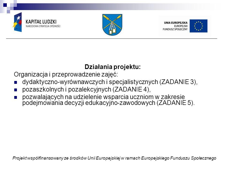 Obowiązki prowadzącego: ZADANIE 4 (dodatkowo) Stosowanie metody projektu i odnotowanie tego faktu w dzienniku zajęć Dbanie o powstanie konkretnego produktu Współtworzenie regulaminów konkursów Uczestniczenie w wyjazdach (dodatkowo płatne) Gromadzenie dokumentacji związanej z przebiegiem zajęć (scenariusze, wytwory pracy uczniów, fotografie i inne) Projekt współfinansowany ze środków Unii Europejskiej w ramach Europejskiego Funduszu Społecznego