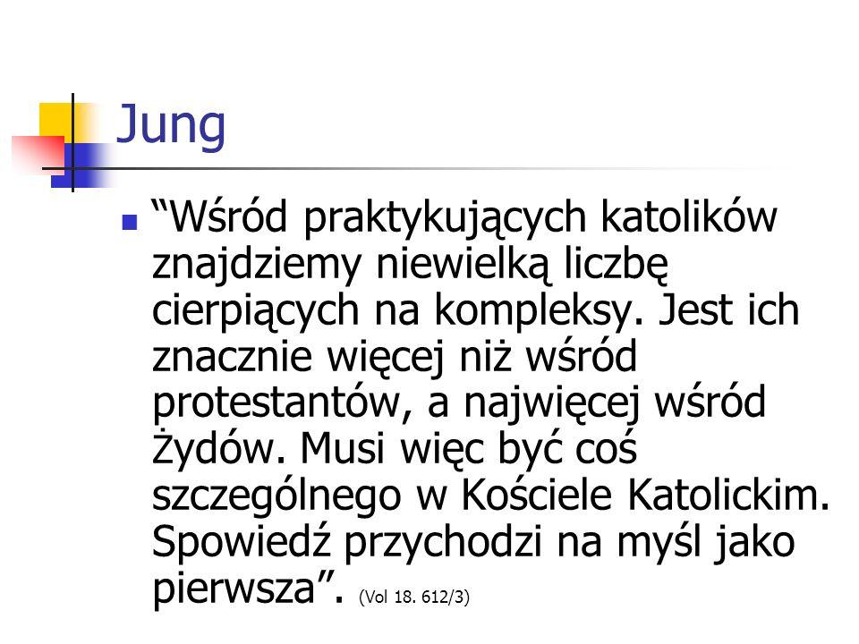Jung Wśród praktykujących katolików znajdziemy niewielką liczbę cierpiących na kompleksy. Jest ich znacznie więcej niż wśród protestantów, a najwięcej