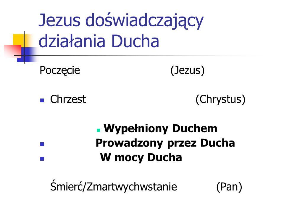 Jezus doświadczający działania Ducha Poczęcie (Jezus) Chrzest (Chrystus) Wypełniony Duchem Prowadzony przez Ducha W mocy Ducha Śmierć/Zmartwychwstanie