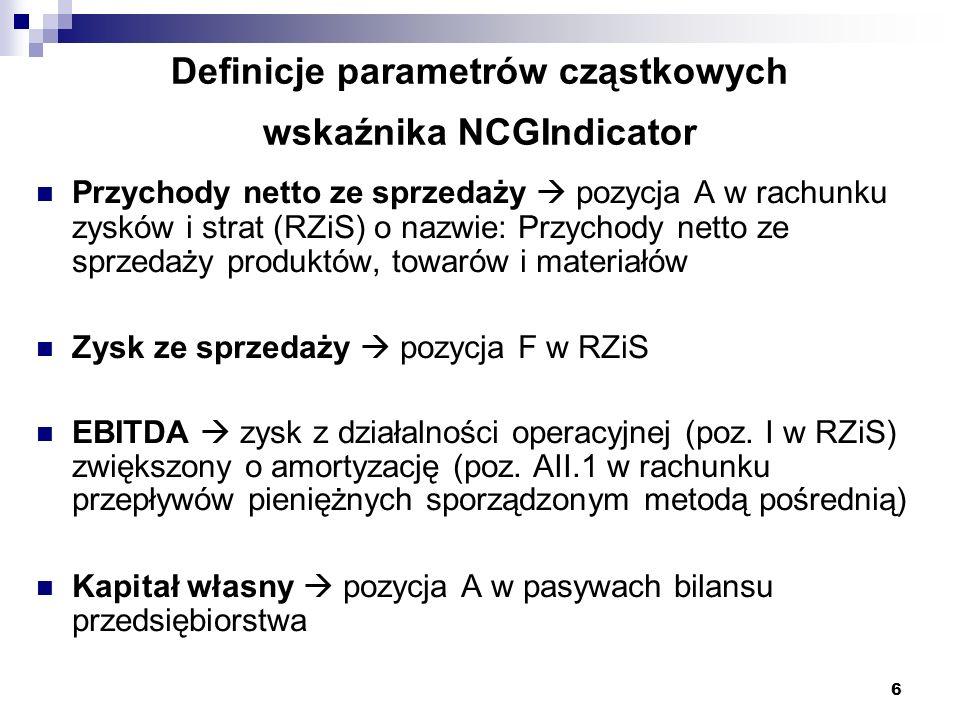 6 Definicje parametrów cząstkowych wskaźnika NCGIndicator Przychody netto ze sprzedaży pozycja A w rachunku zysków i strat (RZiS) o nazwie: Przychody