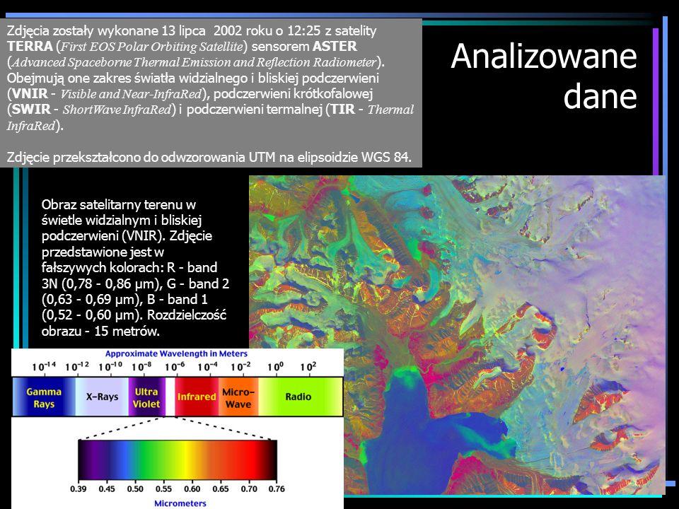 Analizowane dane Zdjęcia zostały wykonane 13 lipca 2002 roku o 12:25 z satelity TERRA ( First EOS Polar Orbiting Satellite ) sensorem ASTER ( Advanced