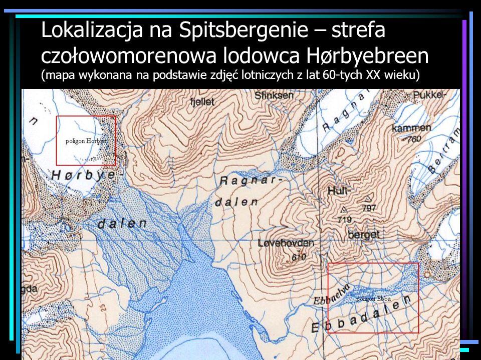 Lokalizacja na Spitsbergenie – strefa czołowomorenowa lodowca Hørbyebreen (mapa wykonana na podstawie zdjęć lotniczych z lat 60-tych XX wieku)