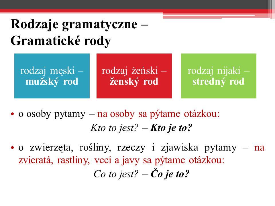 Rodzaje gramatyczne – Gramatické rody o osoby pytamy – na osoby sa pýtame otázkou: Kto to jest.