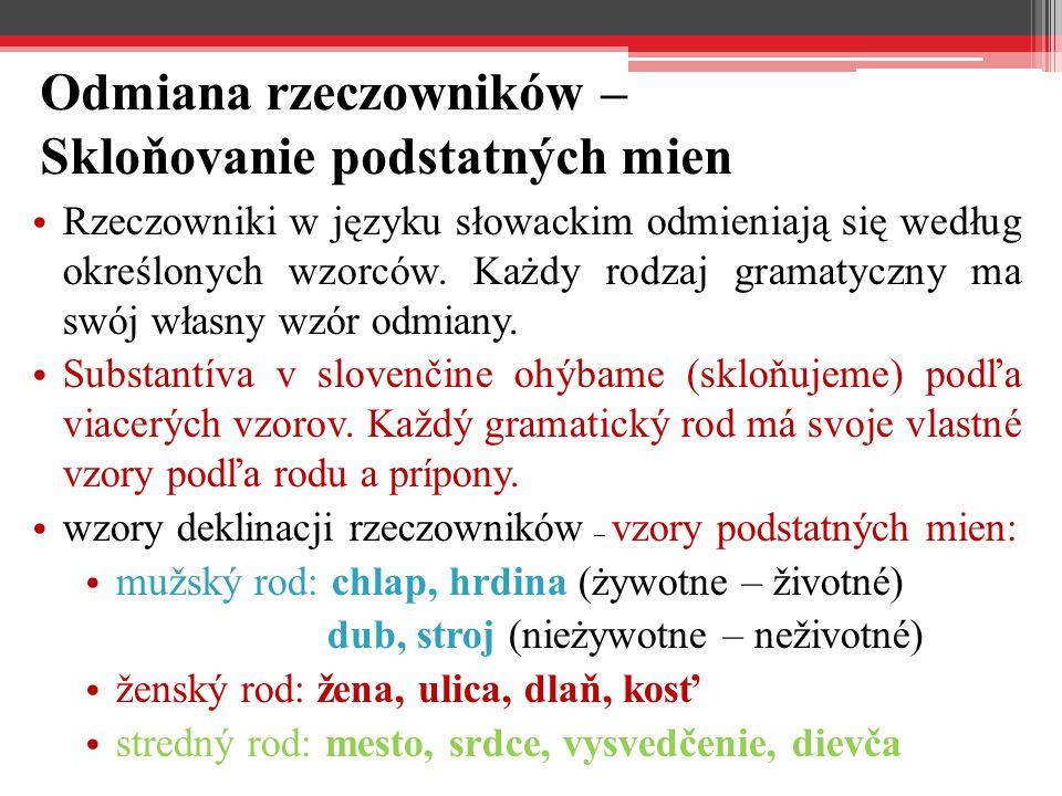 Odmiana rzeczowników – Skloňovanie podstatných mien Rzeczowniki w języku słowackim odmieniają się według określonych wzorców.