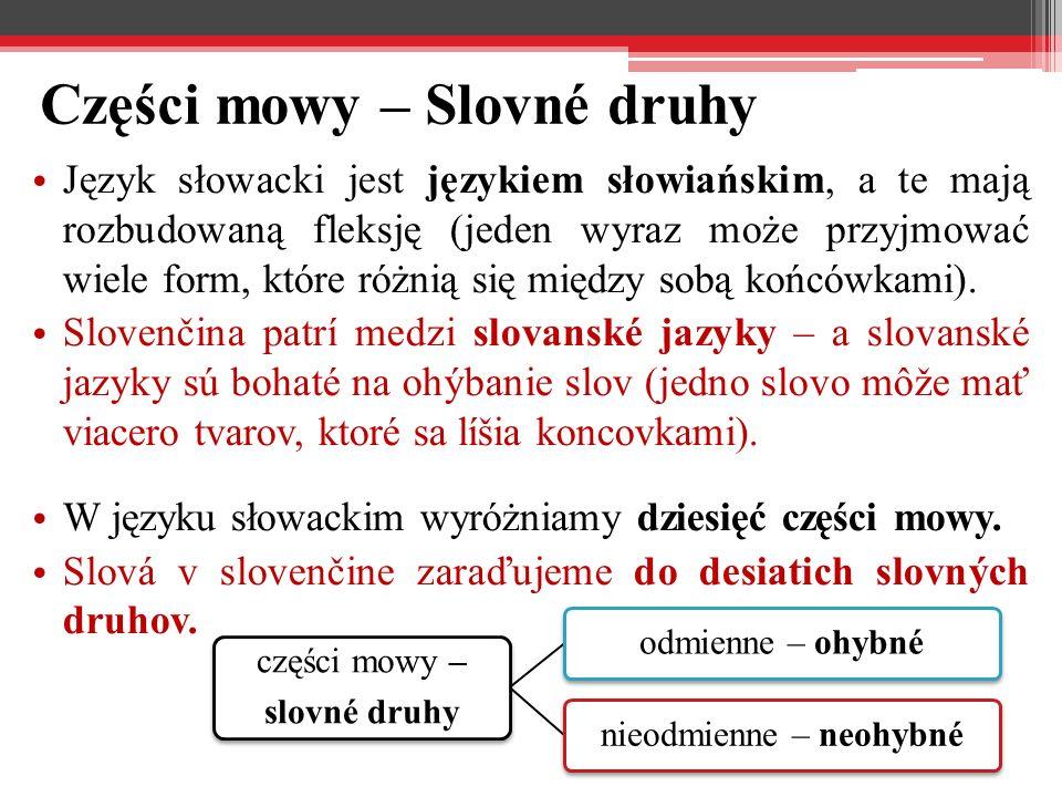 Odmienne części mowy – Ohybné slovné druhy rzeczownik – podstatné meno / substantívum (lat.