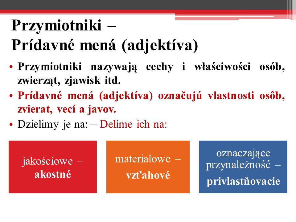 Przymiotniki – Prídavné mená (adjektíva) Przymiotniki nazywają cechy i właściwości osób, zwierząt, zjawisk itd.