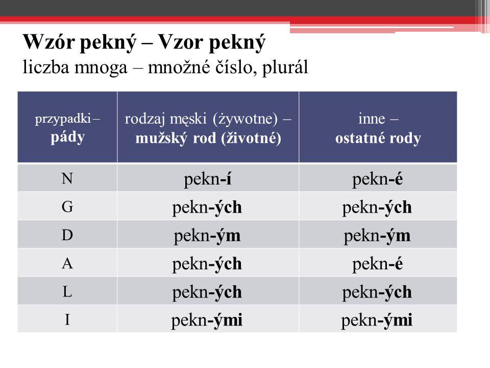 Wzór pekný – Vzor pekný liczba mnoga – množné číslo, plurál przypadki – pády rodzaj męski (żywotne) – mužský rod (životné) inne – ostatné rody N pekn-ípekn-é G pekn-ých D pekn-ým A pekn-ýchpekn-é L pekn-ých I pekn-ými