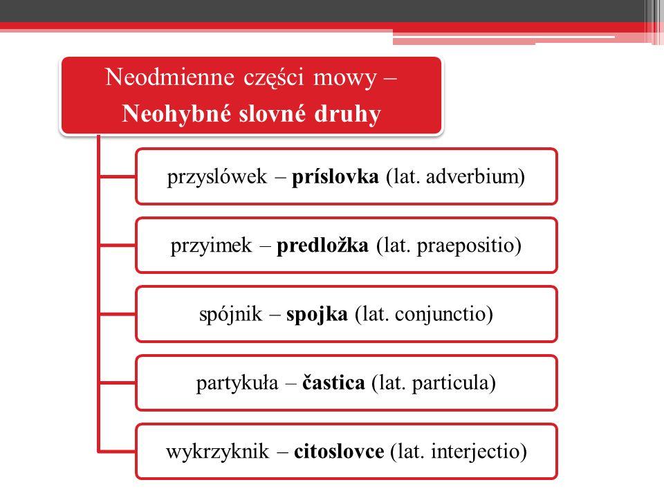 Neodmienne części mowy – Neohybné slovné druhy przyslówek – príslovka (lat.