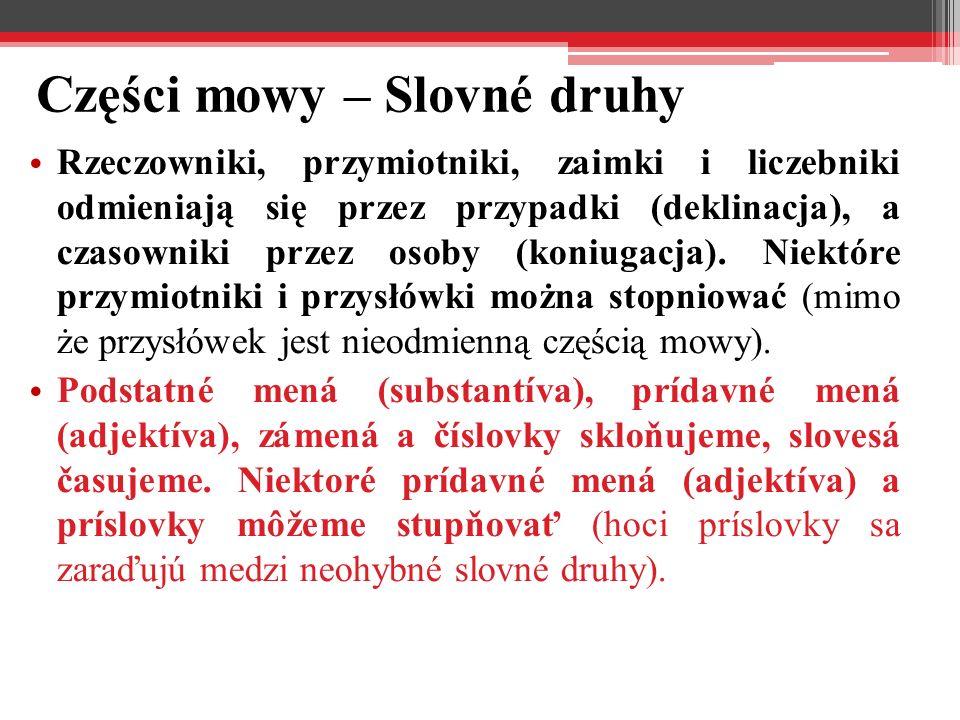 Części mowy – Slovné druhy Rzeczowniki, przymiotniki, zaimki i liczebniki odmieniają się przez przypadki (deklinacja), a czasowniki przez osoby (koniugacja).