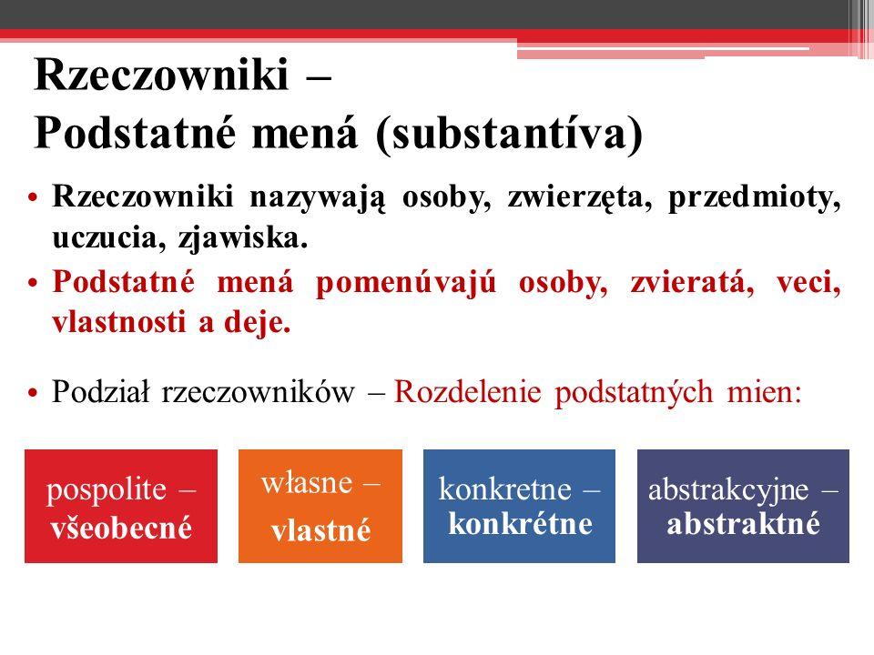 Rzeczowniki – Podstatné mená (substantíva) Rzeczowniki nazywają osoby, zwierzęta, przedmioty, uczucia, zjawiska.