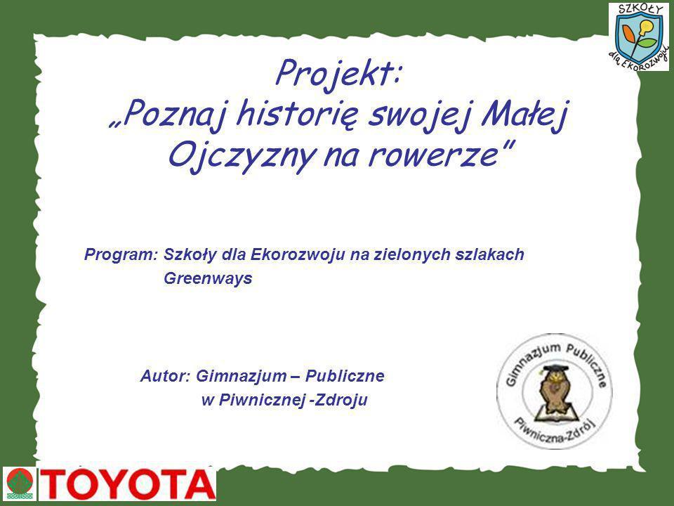 Projekt: Poznaj historię swojej Małej Ojczyzny na rowerze Program: Szkoły dla Ekorozwoju na zielonych szlakach Greenways Autor: Gimnazjum – Publiczne