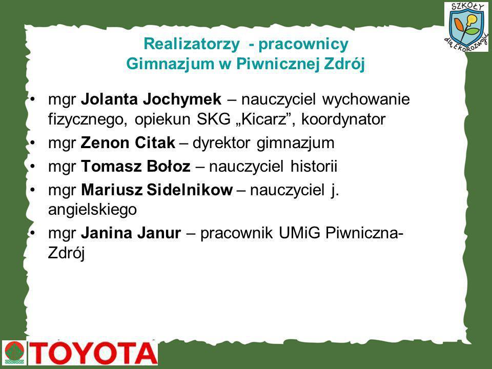 Realizatorzy - pracownicy Gimnazjum w Piwnicznej Zdrój mgr Jolanta Jochymek – nauczyciel wychowanie fizycznego, opiekun SKG Kicarz, koordynator mgr Ze