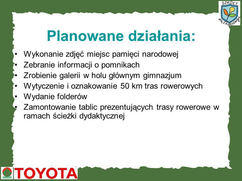 W ramach projektu: Powstanie pierwsza dydaktyczna ścieżka rowerowa w Piwnicznej-Zdroju Zostanie wydany folder o miejscach pamięci narodowej, który zostanie przekazany do bibliotek szkolnych gminy Piwniczna.