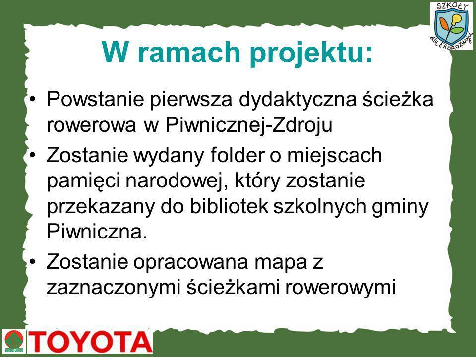 W ramach projektu: Powstanie pierwsza dydaktyczna ścieżka rowerowa w Piwnicznej-Zdroju Zostanie wydany folder o miejscach pamięci narodowej, który zos