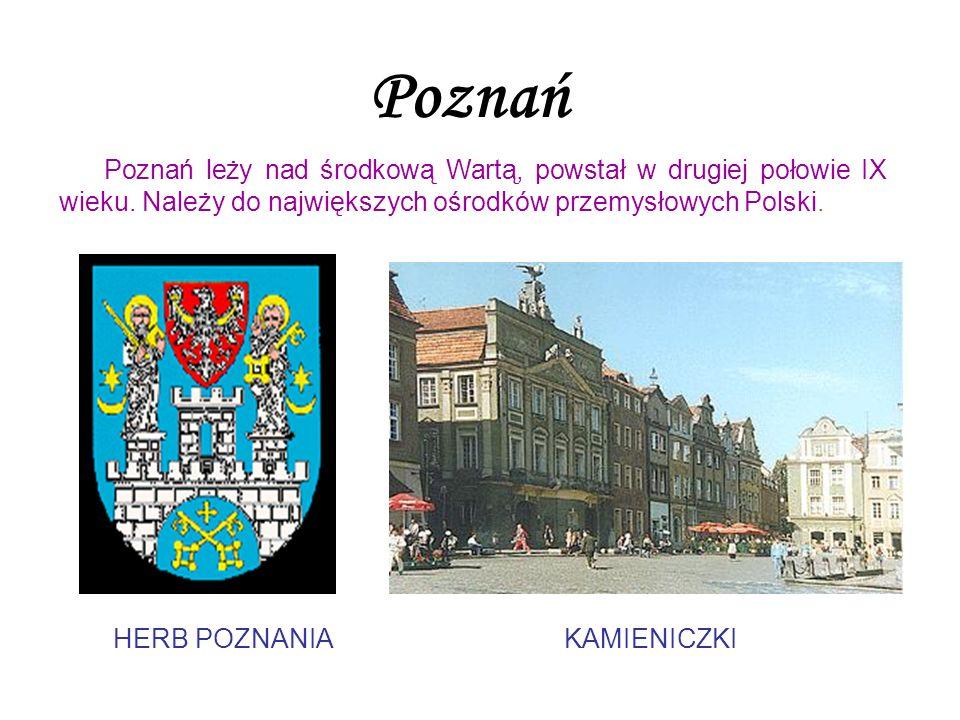 Poznań Poznań leży nad środkową Wartą, powstał w drugiej połowie IX wieku. Należy do największych ośrodków przemysłowych Polski. HERB POZNANIAKAMIENIC