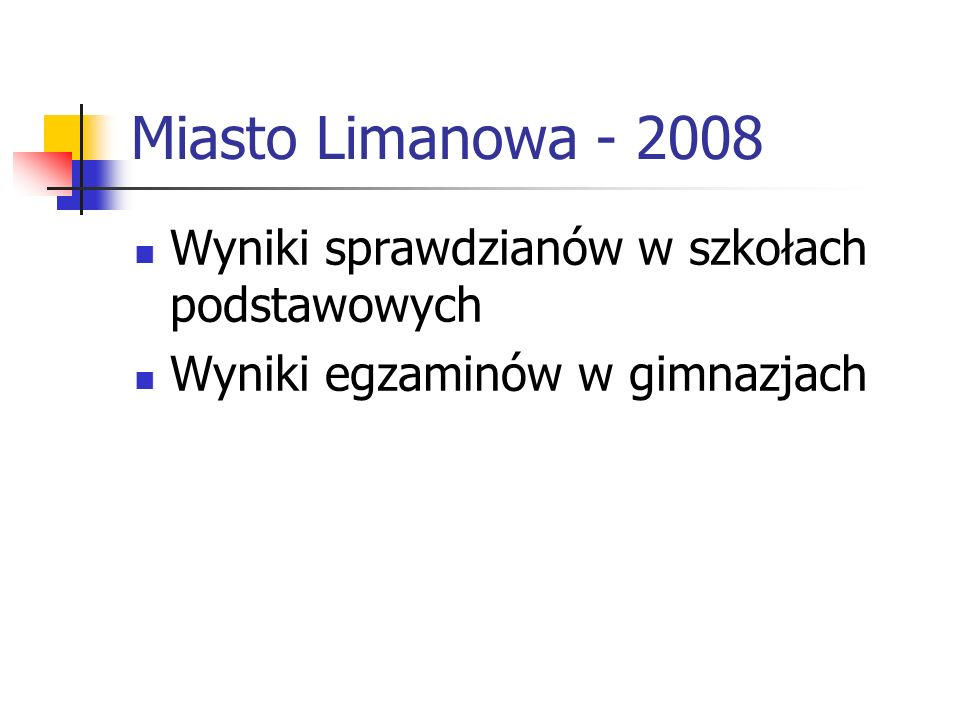 Miasto Limanowa - 2008 Wyniki sprawdzianów w szkołach podstawowych Wyniki egzaminów w gimnazjach