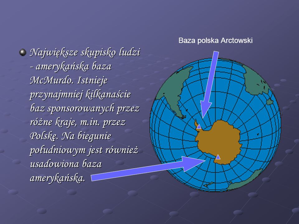 Największe skupisko ludzi - amerykańska baza McMurdo. Istnieje przynajmniej kilkanaście baz sponsorowanych przez różne kraje, m.in. przez Polskę. Na b
