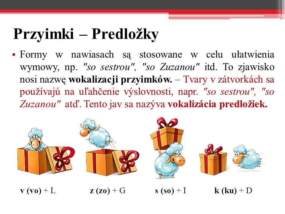 Przyimki – Predložky Formy w nawiasach są stosowane w celu ułatwienia wymowy, np.