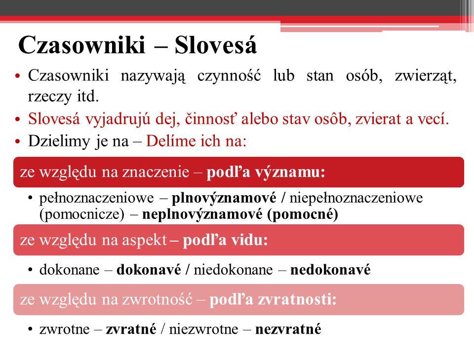 Czasowniki – Slovesá Czasowniki nazywają czynność lub stan osób, zwierząt, rzeczy itd. Slovesá vyjadrujú dej, činnosť alebo stav osôb, zvierat a vecí.