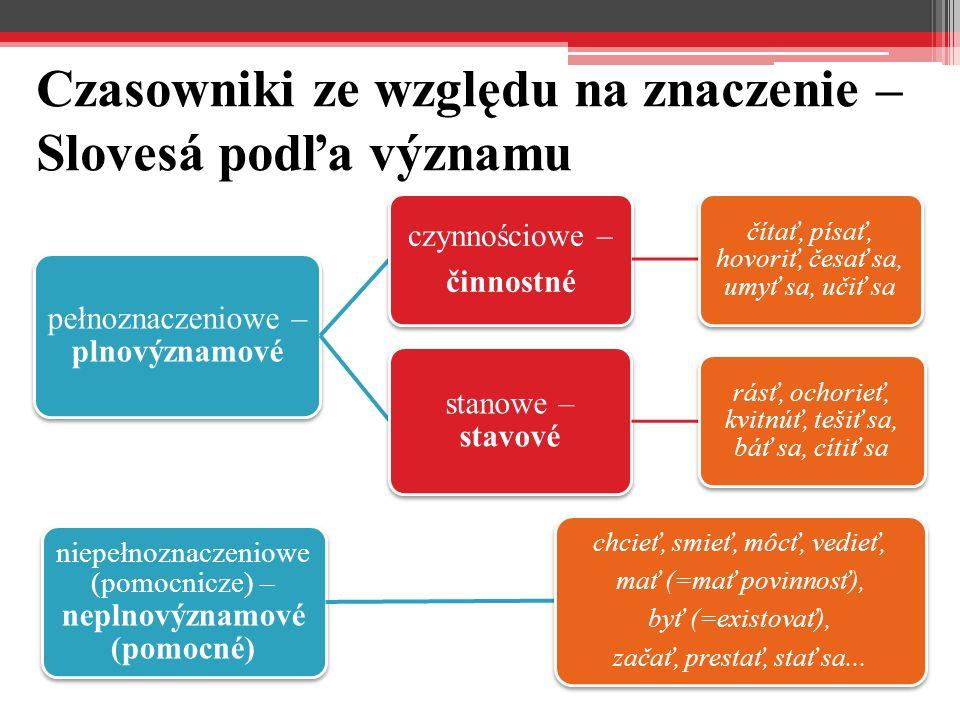 Czasowniki ze względu na znaczenie – Slovesá podľa významu pełnoznaczeniowe – plnovýznamové czynnościowe – činnostné čítať, písať, hovoriť, česať sa,