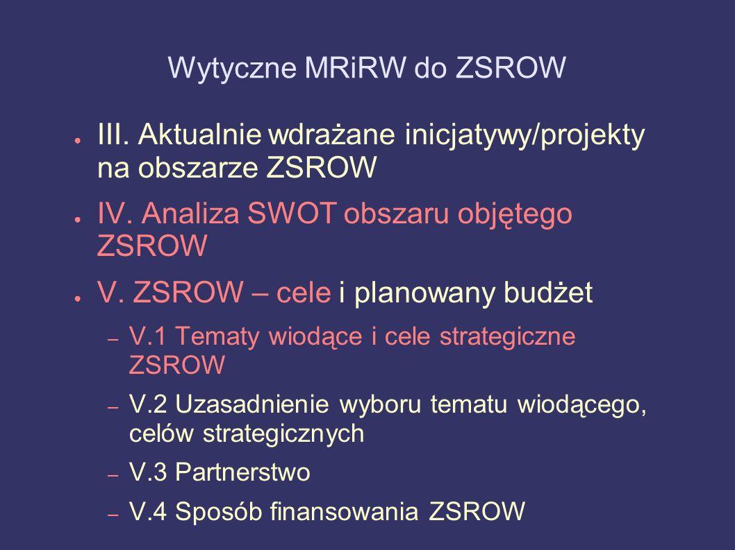 Wytyczne MRiRW do ZSROW III. Aktualnie wdrażane inicjatywy/projekty na obszarze ZSROW IV. Analiza SWOT obszaru objętego ZSROW V. ZSROW – cele i planow