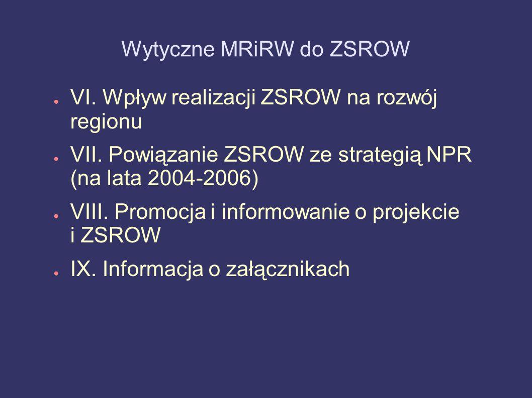 Wytyczne MRiRW do ZSROW VI. Wpływ realizacji ZSROW na rozwój regionu VII. Powiązanie ZSROW ze strategią NPR (na lata 2004-2006) VIII. Promocja i infor