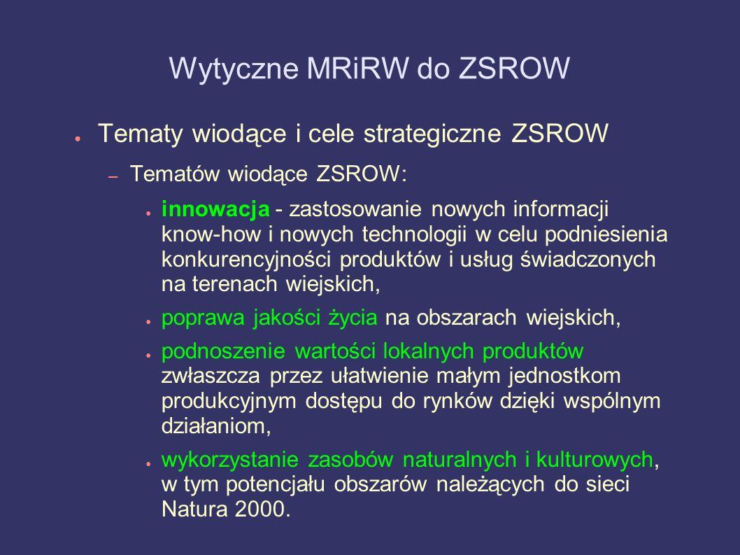 Wytyczne MRiRW do ZSROW Tematy wiodące i cele strategiczne ZSROW – Tematów wiodące ZSROW: innowacja - zastosowanie nowych informacji know-how i nowych