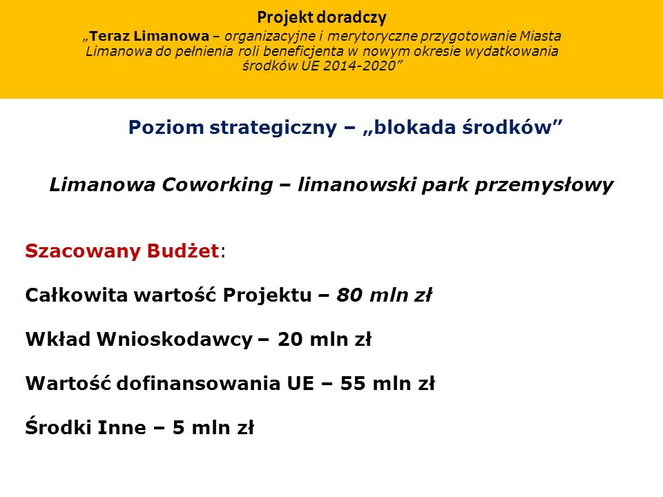 Projekt doradczy Teraz Limanowa – organizacyjne i merytoryczne przygotowanie Miasta Limanowa do pełnienia roli beneficjenta w nowym okresie wydatkowan