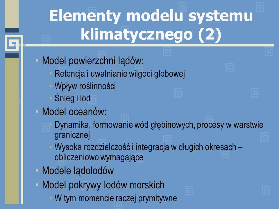Elementy modelu systemu klimatycznego (2) Model powierzchni lądów: Retencja i uwalnianie wilgoci glebowej Wpływ roślinności Śnieg i lód Model oceanów: