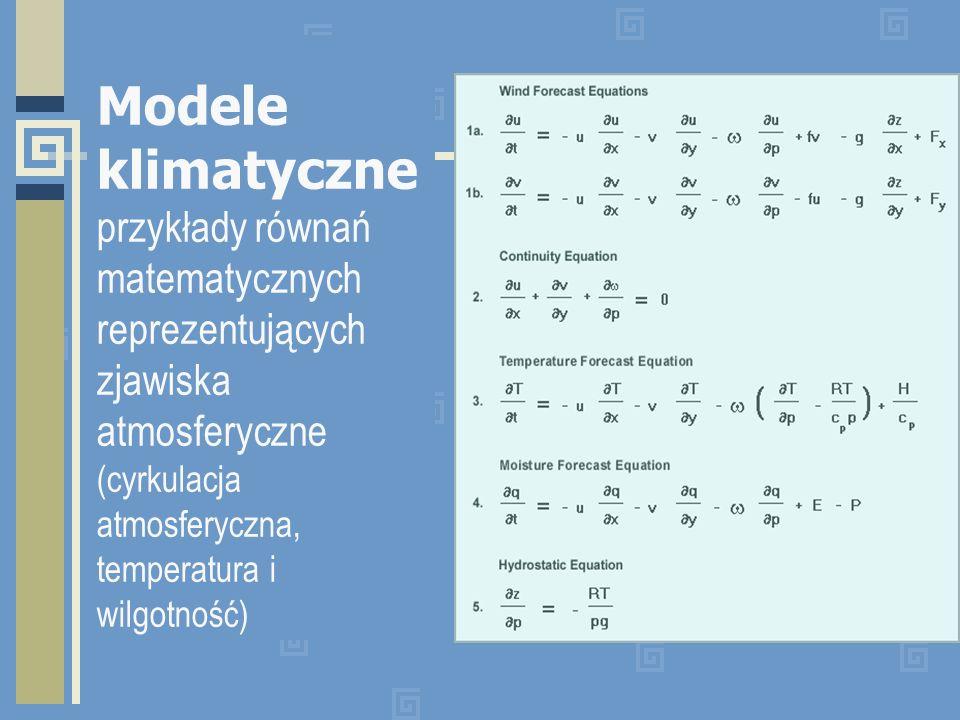 Modele klimatyczne przykłady równań matematycznych reprezentujących zjawiska atmosferyczne (cyrkulacja atmosferyczna, temperatura i wilgotność)