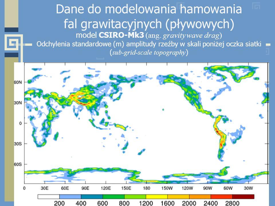 Dane do modelowania hamowania fal grawitacyjnych (pływowych) model CSIRO-Mk3 (ang. gravity wave drag) Odchylenia standardowe (m) amplitudy rzeźby w sk