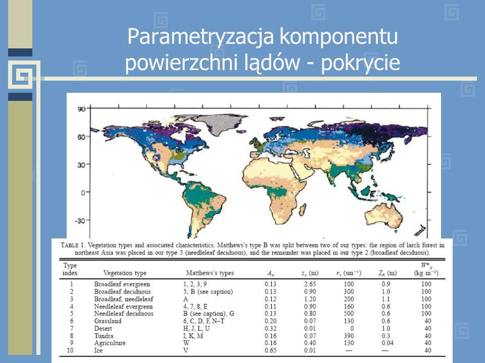Parametryzacja komponentu powierzchni lądów - pokrycie