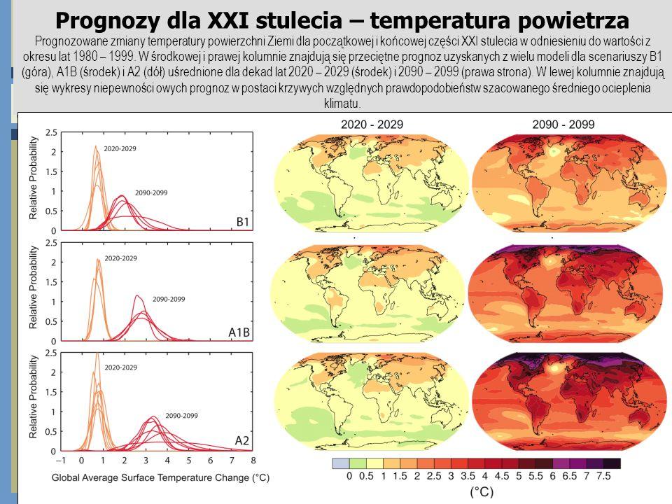 Prognozy dla XXI stulecia – temperatura powietrza Prognozowane zmiany temperatury powierzchni Ziemi dla początkowej i końcowej części XXI stulecia w o