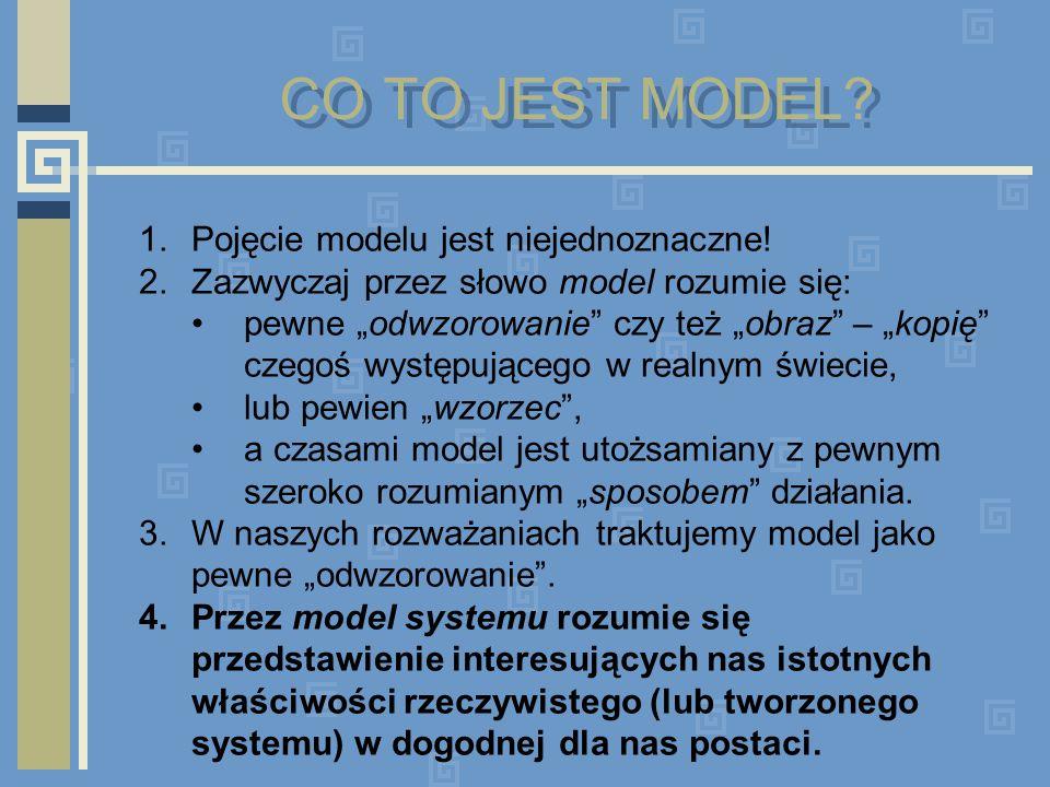 PODSTAWOWE CECHY MODELI 1.Model systemu jest z reguły uproszczeniem rzeczywistości.