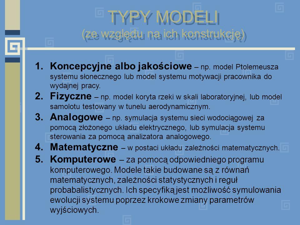 TYPY MODELI (ze względu na ich konstrukcję) 1.Koncepcyjne albo jakościowe – np. model Ptolemeusza systemu słonecznego lub model systemu motywacji prac
