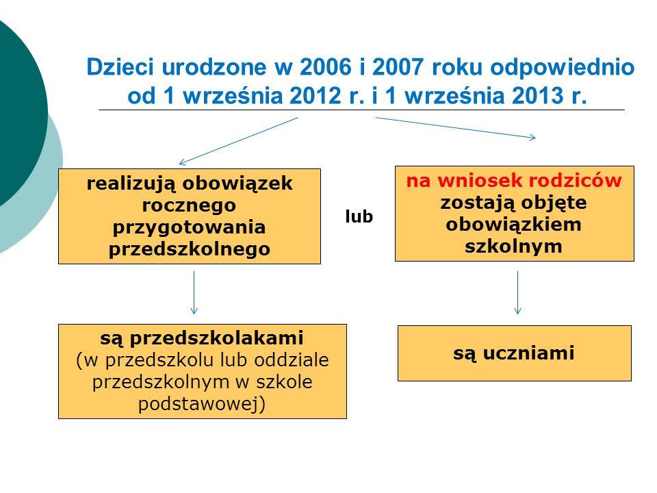 Dzieci urodzone w 2006 i 2007 roku odpowiednio od 1 września 2012 r. i 1 września 2013 r. realizują obowiązek rocznego przygotowania przedszkolnego na