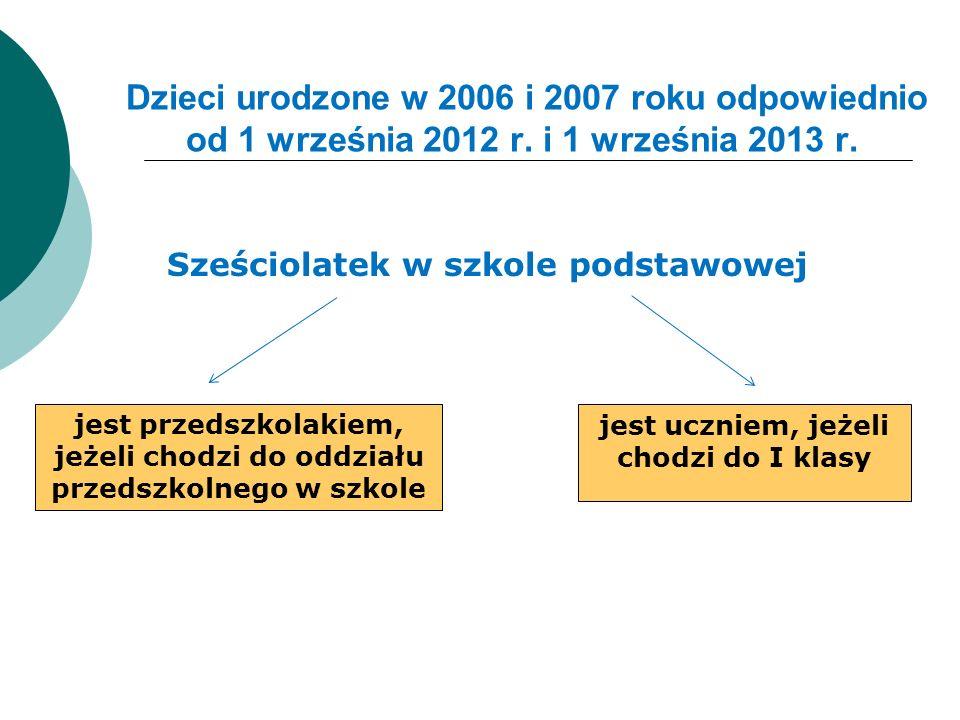 Dzieci urodzone w 2006 i 2007 roku odpowiednio od 1 września 2012 r. i 1 września 2013 r. Sześciolatek w szkole podstawowej jest przedszkolakiem, jeże