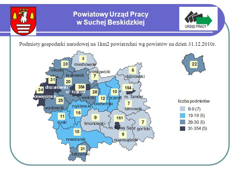 Podmioty gospodarki narodowej na 1km2 powierzchni wg powiatów na dzień 31.12.2010r.