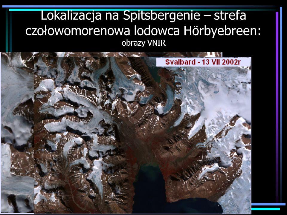 Lokalizacja na Spitsbergenie – strefa czołowomorenowa lodowca Hörbyebreen: obrazy VNIR