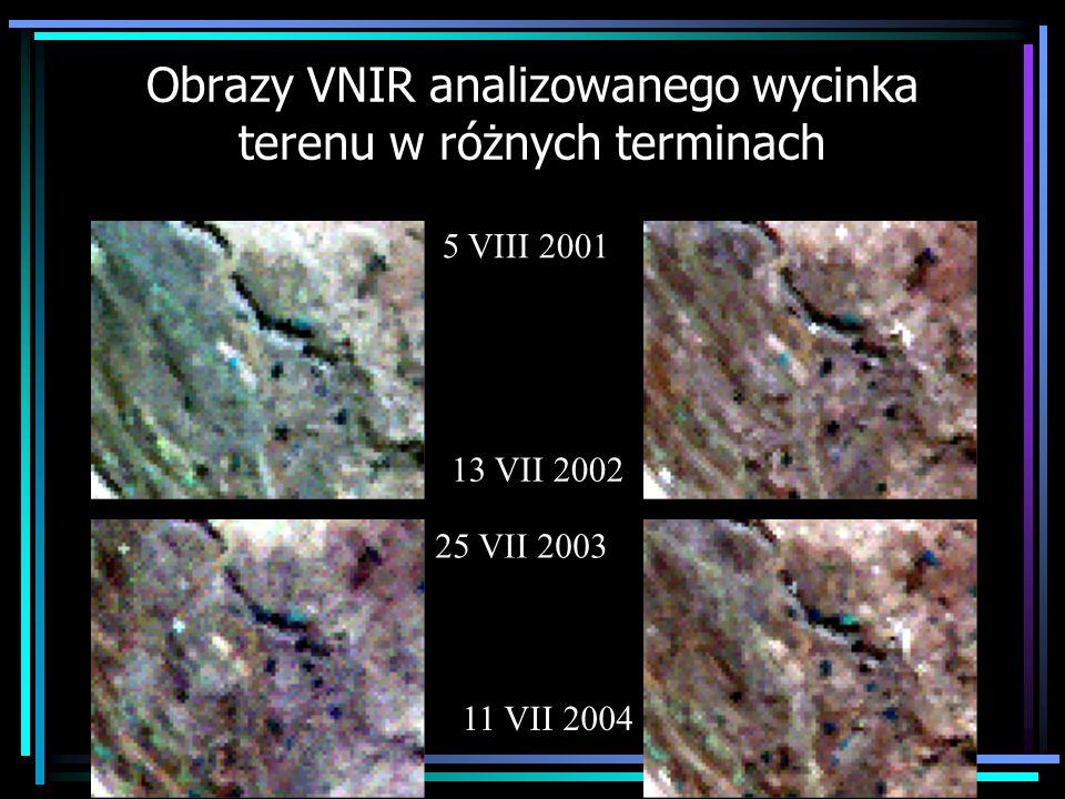 Obrazy VNIR analizowanego wycinka terenu w różnych terminach 5 VIII 2001 25 VII 2003 13 VII 2002 11 VII 2004