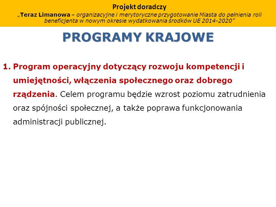 PROGRAMY KRAJOWE 1.Program operacyjny dotyczący rozwoju kompetencji i umiejętności, włączenia społecznego oraz dobrego rządzenia.