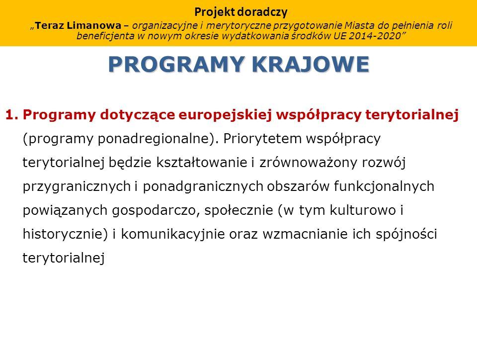 PROGRAMY KRAJOWE 1.Programy dotyczące europejskiej współpracy terytorialnej (programy ponadregionalne).