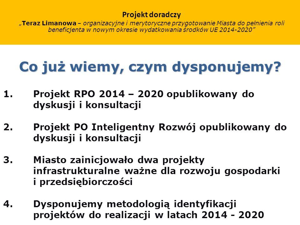 Co już wiemy, czym dysponujemy. 1.Projekt RPO 2014 – 2020 opublikowany do dyskusji i konsultacji 2.